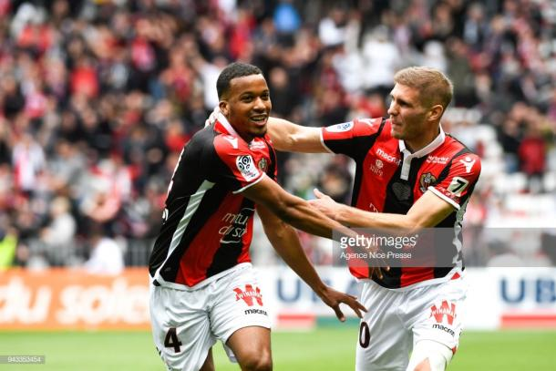 Alassane Pléa (left) celebrating a goal for Nice. | Photo: Agence Nice Presse/Icon Sport via Getty Images