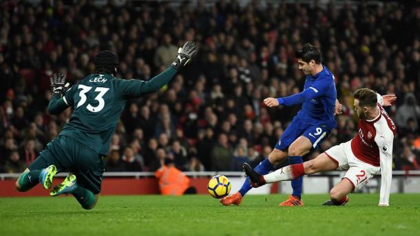 Morata desperdició tres chances muy claras ante Arsenal   Foto: Premier League.