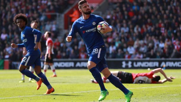 Giroud festeja el gol del descuento | Foto: Premier League.