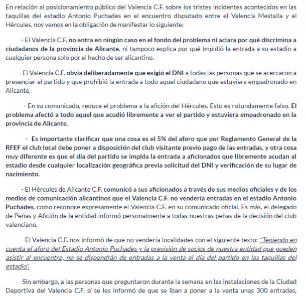 Extracto del comunicado del Hércules CF dirigido al Valencia CF | Web Hércules CF