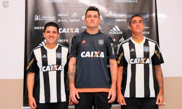 Diego Renan, Denis e Romarinho foram apresentados em janeiro (Foto: Luiz Henrique / Figueirense FC)