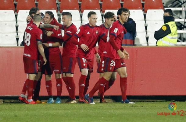 Celebración tras el gol de David Rodriguez. Foto: www.osasuna.es