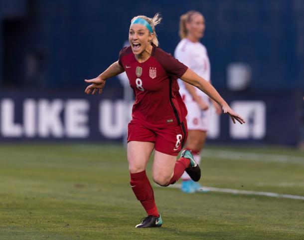 Julie Ertz celebrating goal | Photo: US Soccer/ussoccer.com