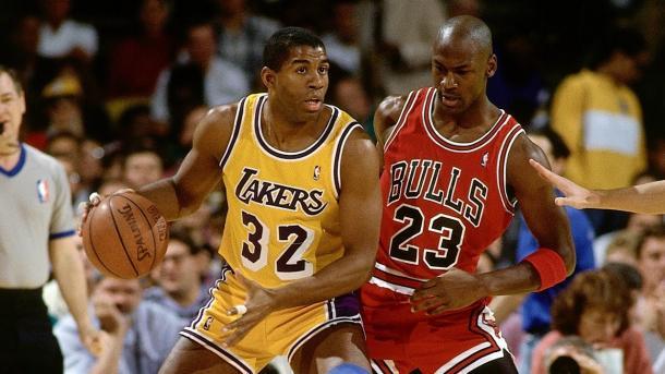 Magic y Jordan durante las Finales de 1991   Foto: NBA.com