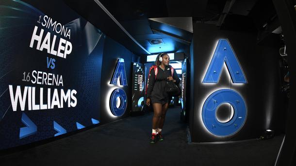 Concentración en Serena antes de entrar a pista | Foto: Aus Open