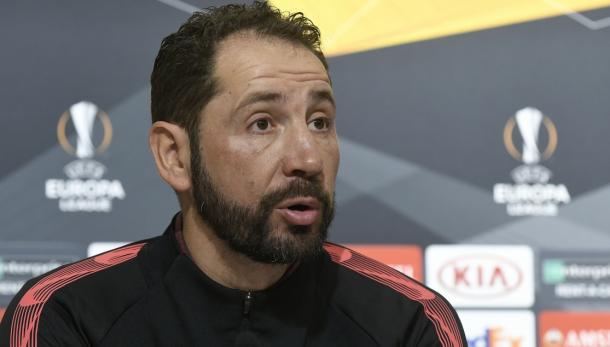 El técnico soriano en rueda de prensa | Foto: Sevilla FC
