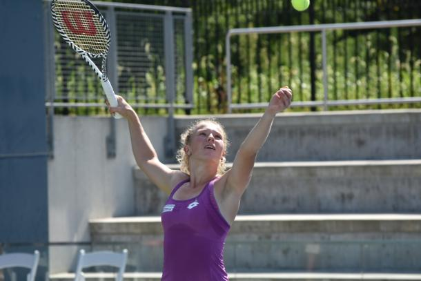 Siniakova serves during her opening round win/Photo: John Lupo/VAVEL USA