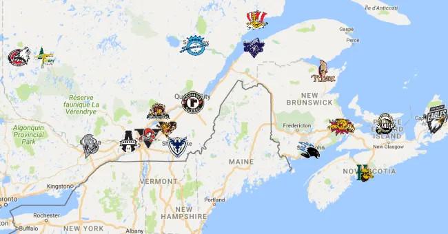 Mapa de equipos de la QMJHL   Foto: Sports League Map