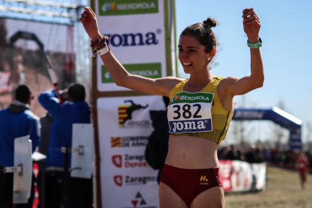 María Martínez tras entrar a meta en el Campeonato de España de Campo a Través. / Foto: TrackMedia