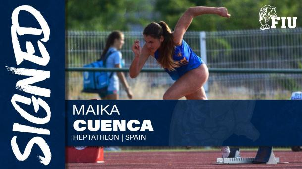 Anuncio del fichaje de Maika Cuenca por la Forida International University.
