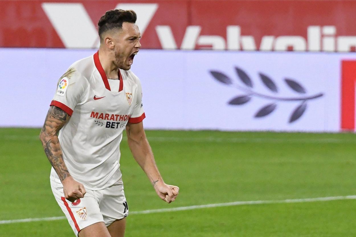 Ocampos celebra el gol. Fuente: Sevilla FC
