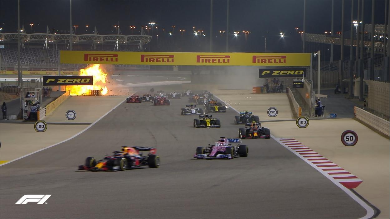 El accidente de Grosjean visto desde el pelotón. Fuente: F1