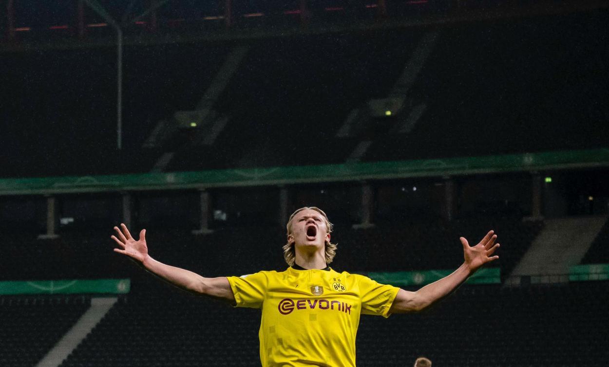 El gigante noruego sentenció el partido al minuto 87. /Twitter: Borussia Dortmund oficial