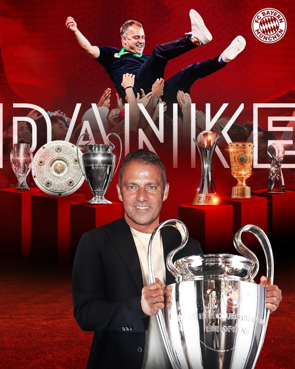  Flick conquistó el sextete en su primer año en el Bayern Múnich./Twitter: Bayern Múnich oficial    