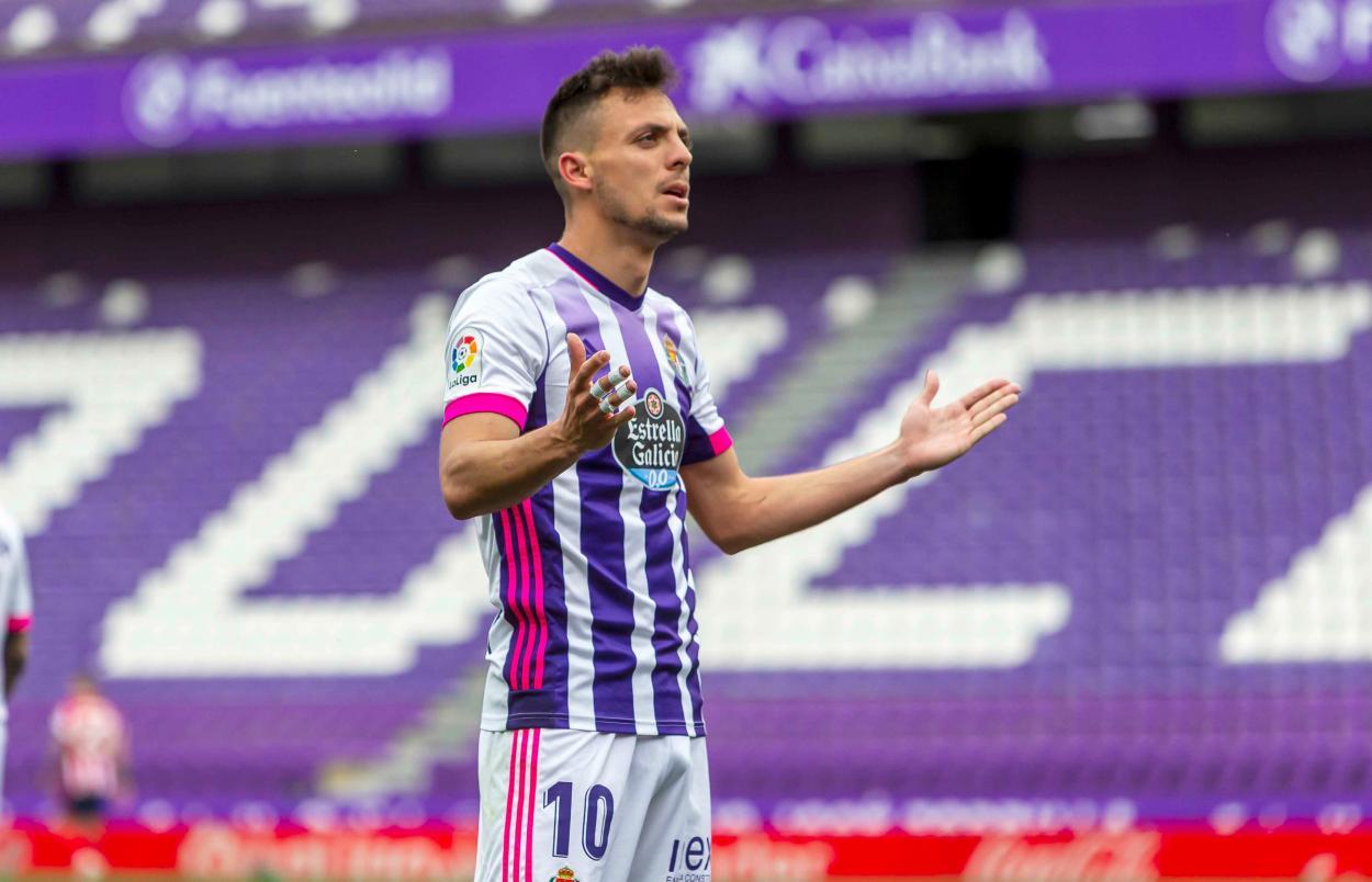 Óscar Plano, autor del primero del Valladolid. /Twitter: LaLiga oficial