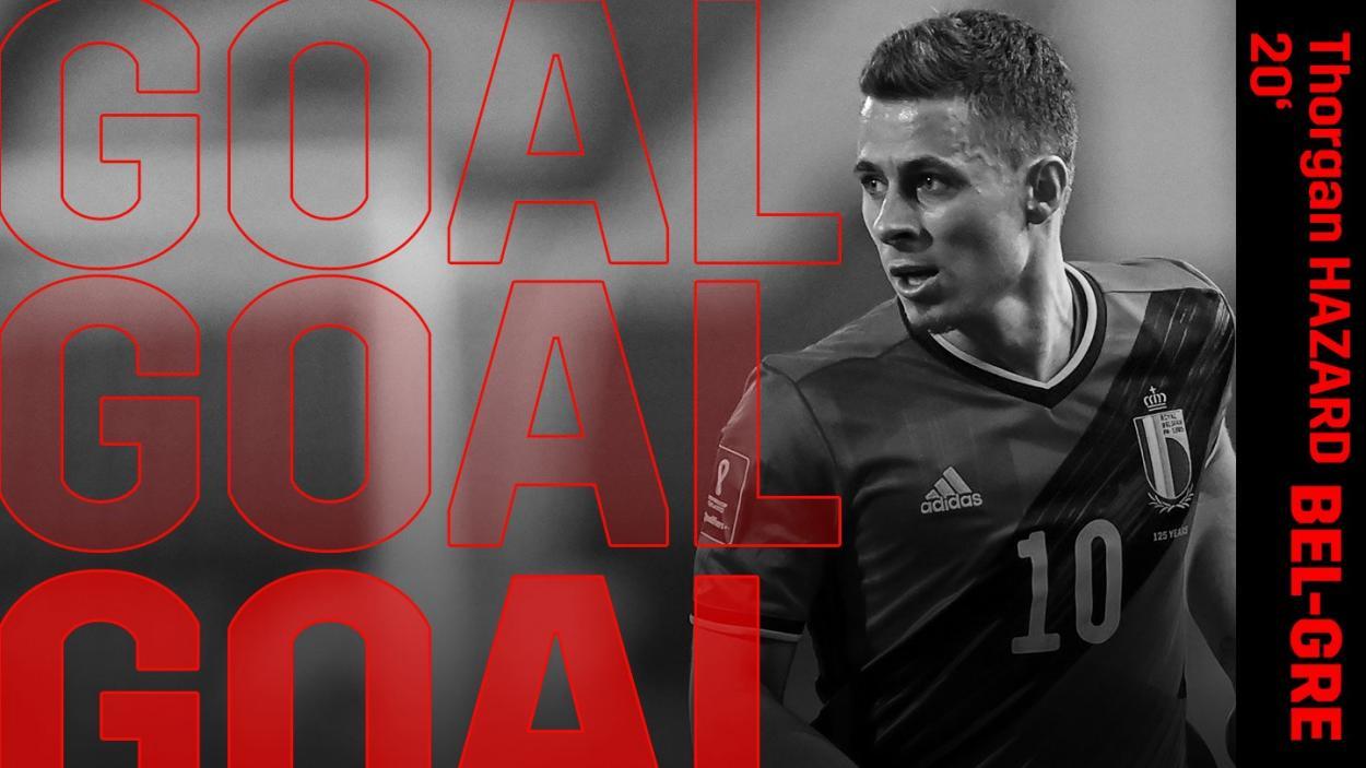 Hazard consiguió abrir el marcador. /Twitter: Belgian Red Devils oficial