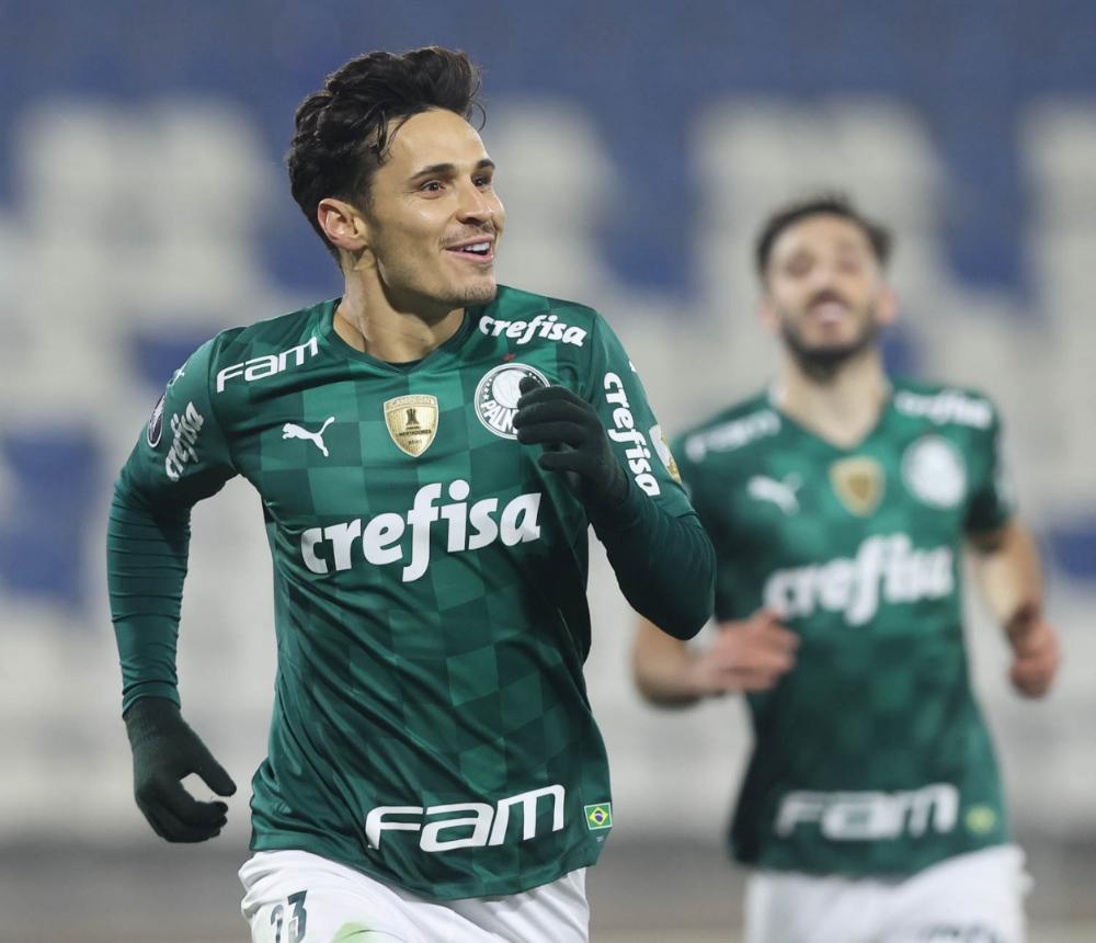 Scarpa comemorando seu gol (Foto: Cesar Greco/Divulgação/Palmeiras