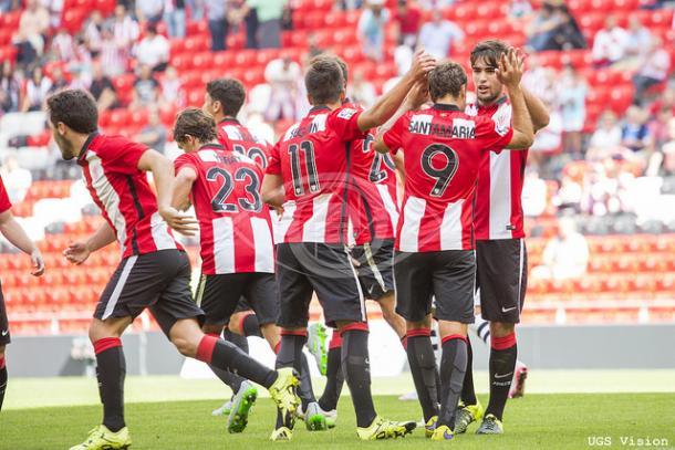 Los jugadores celebran uno de los goles ante el Mallorca