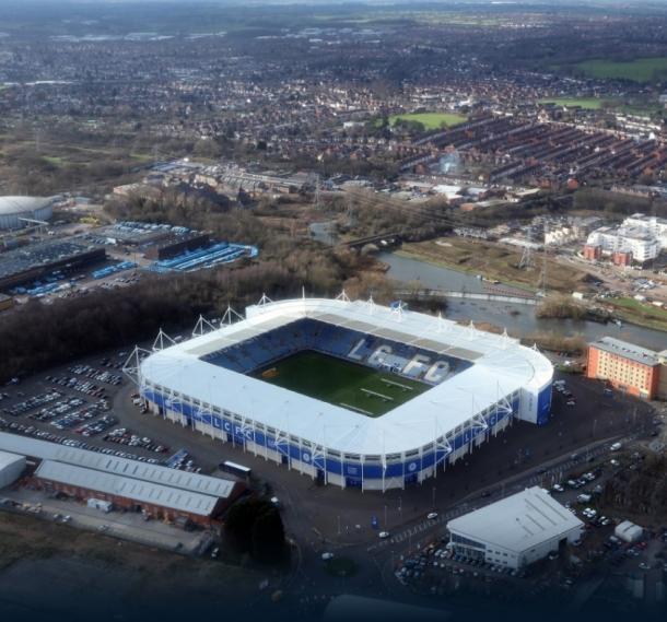 Vista aérea del King Power Stadium. Fuente: Leicester