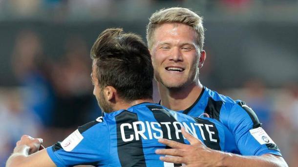 Cristante e Cornelius festeggiano il gol-vittoria sul Lille, in amichevole. | gazzettaobjects.it