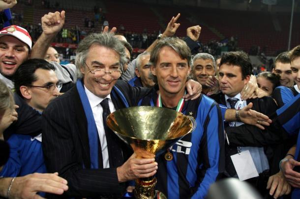 Mancini celebrates the one of his first spell scudetto wins with Moratti | photo: repubblica.it