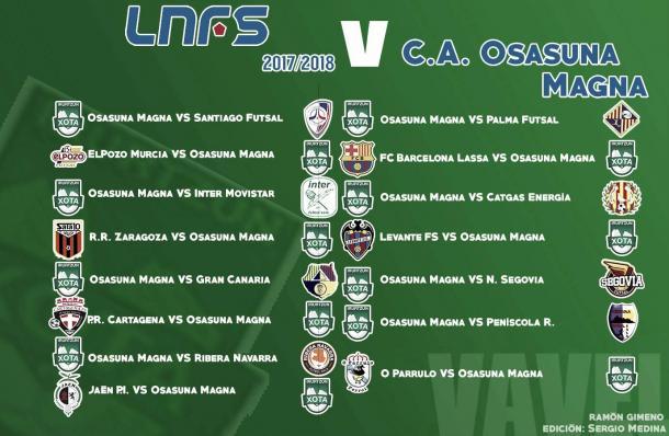 Calendario de la LNFS para Osasuna Magna. | Foto: Ramón Gimeno y Sergio Medina