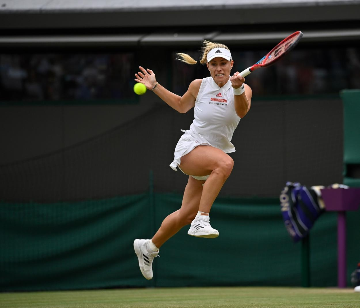 Kerber in action at the 2021 Wimbledon Championships where she posted a semifinal result. Photo: Paul Zimmer