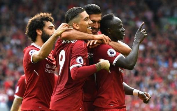 Salah, Firmino ed Emre Can esultano insieme al marcatore Mané il parziale 2-0 all'Arsenal. | Sky Sport.