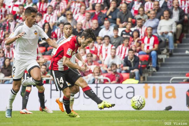 Susaeta anota ante el Valencia CF en el partido de la primera vuelta | Fotografía: UGS Vision