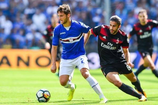 Bereszynski (25) supera Ricardo Rodriguez (25). Fonte: https://www.facebook.com/sampdoria/