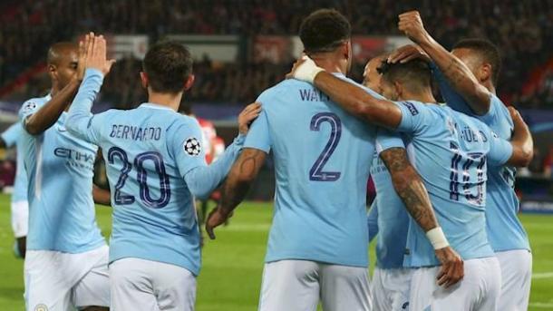 L'esultanza dei giocatori del City dopo uno dei gol segnati al Feyenoord. | Manchester City FC.