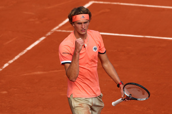 Alexander Zverev pumps his fist after one of his early French Open battles. Photo: Clive Brunskill/Getty Images