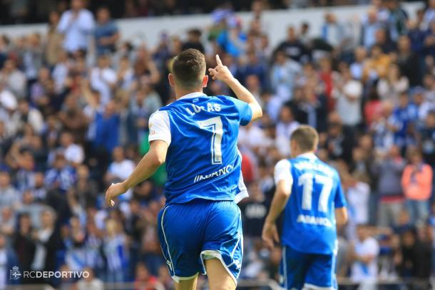 Lucas celebra su primer gol en esta temporada. / Imagen: RCDeportivo