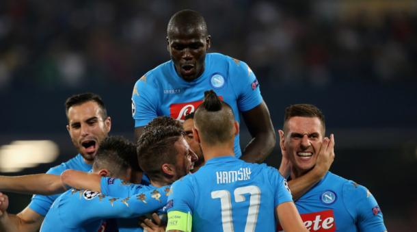 La festa del Napoli con il Benfica. Fonte foto: corrieredellosport.it