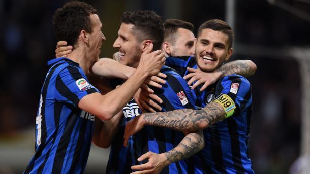 La festa nerazzurra dopo il successo sull'Udinese. Fonte: Getty Images.