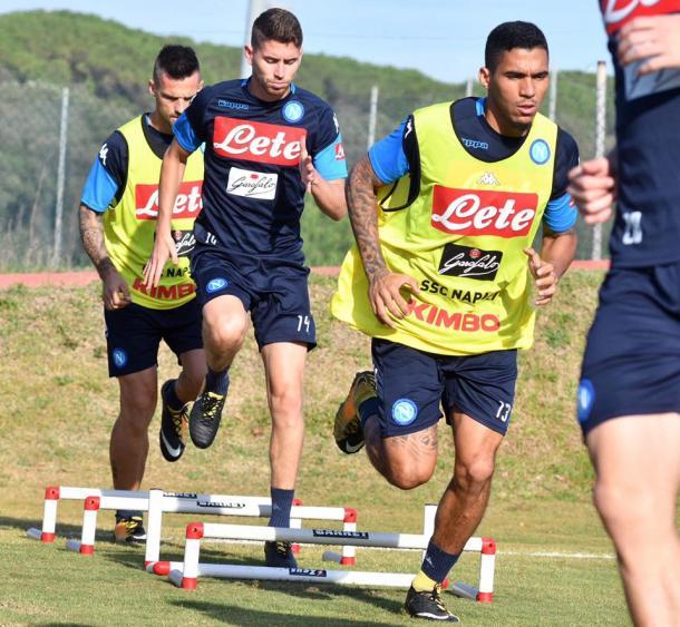 Maggio, Jorginho, Allan in allenamento - Fonte: SSC Napoli / Facebook