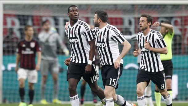 La gioia bianconera con Pogba, Barzagli e Marchisio | Foto: tuttosport.com
