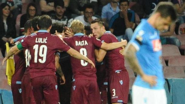 La Lazio festeggia il preliminare di Champions raggiunto proprio al San Paolo due stagioni fa. Fonte foto: corrieredellosport.it
