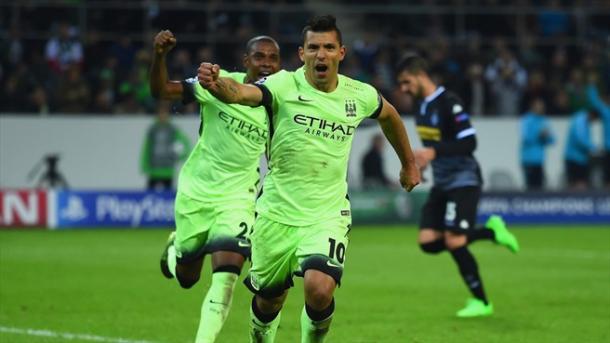 Aguero, in gol nella vittoria del City a Moenchengladbach. Fonte: Getty Images.