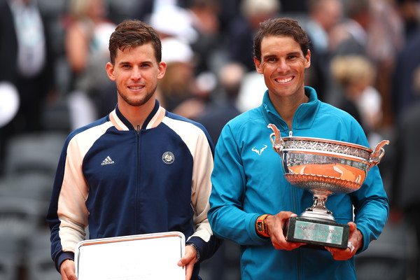 Dominic Thiem (left) advanced to his first major final at the French Open, only to be outclassed by Rafael Nadal. Photo: Clive Brunskill/Getty Images