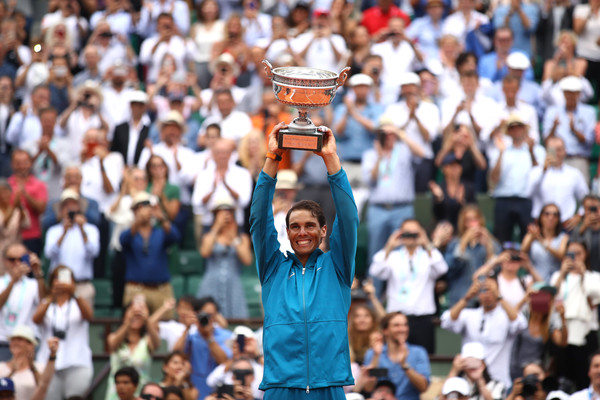 Rafael Nadal celebrates winning his historic 11th French Open title. Photo: Cameron Spencer/Getty Images