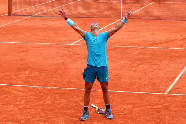 Nadal, seen here at the moment of victory, wrapped up one of his best clay court season's ever with a dominant win in Paris. He needed a strong run to keep his number one ranking and managed to pull it off in style. Photo: Clive Brunskill/Getty Images
