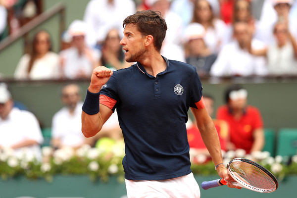 Dominic Thiem celebrates a point during his maiden major final in Paris. Photo: Matthew Stockman/Getty Images