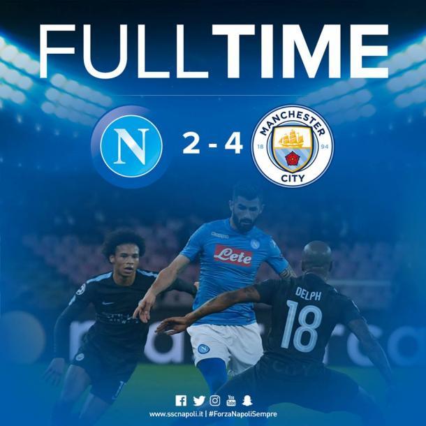 Final del encuentro con un 2-4 para el City / Foto: Napoli