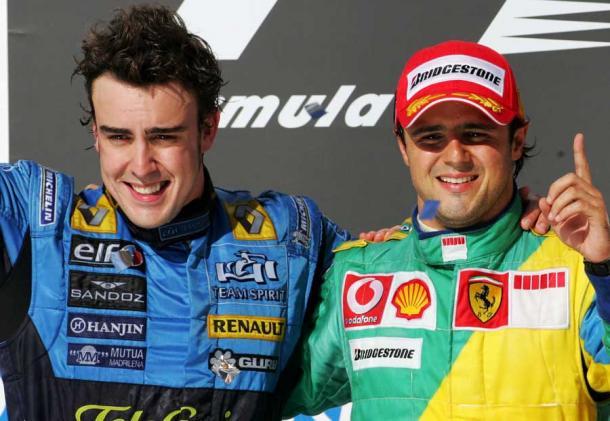 Fernando Alonso e Felipe Massa a Interlagos nel 2006. Fonte foto: Getty Images.