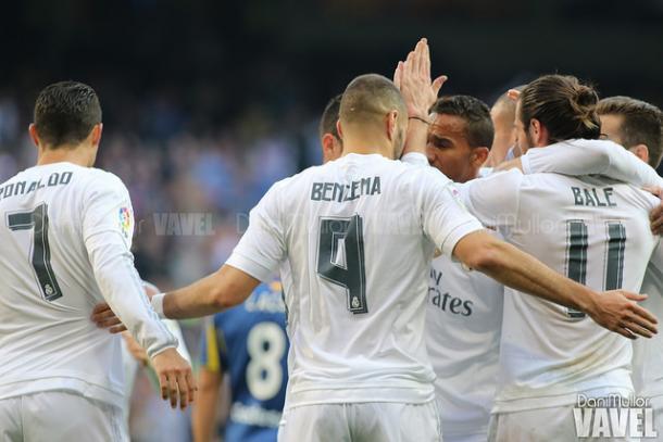 Celebración tras el gol de Benzema frente al Getafe. Foto: Dani Mullor - VAVEL.
