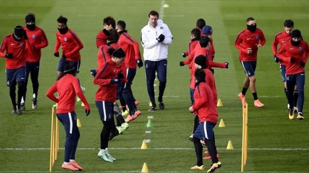 Example: PSG training prior to the match vs. Chelsea. Photo: AFP/Getty Images