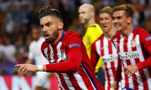 Yannick Ferreira Carrasco celebrates the equaliser (Photo: Kai Pfaffenbach/ Reuters)