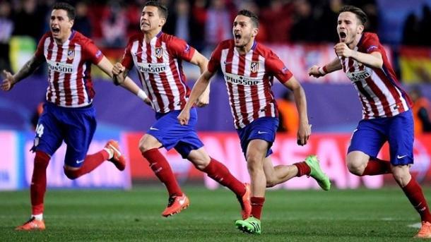 I giocatori dell'Atletico esultano dopo i rigori con il PSV. Fonte: Getty Images.