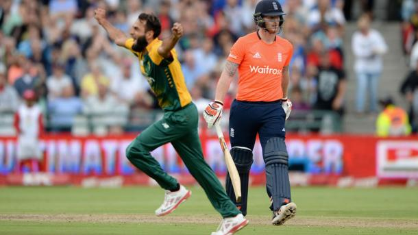 Tahir celebrates the wicket of Stokes. | Image source: cricinfo